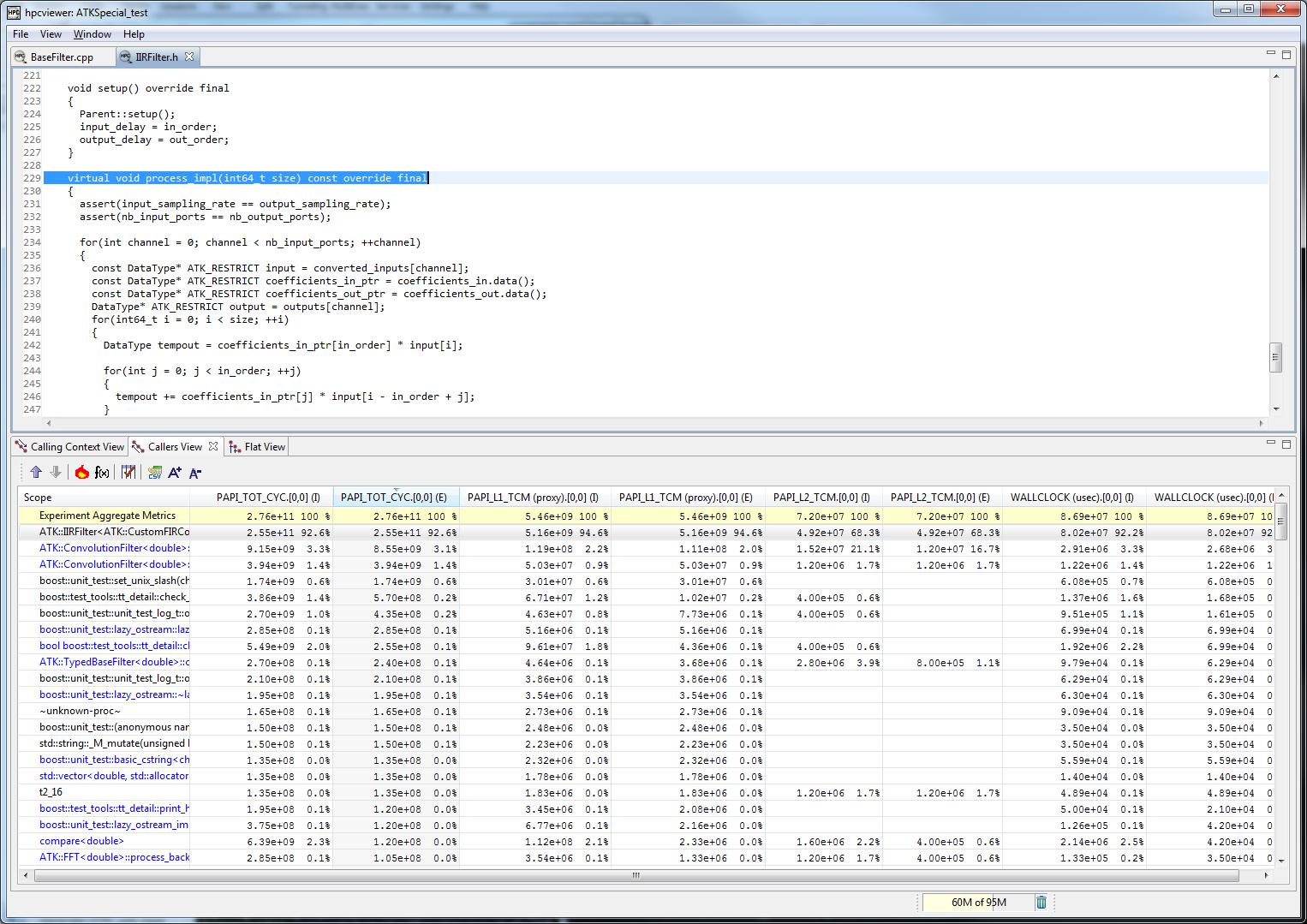 HPCViewer main window