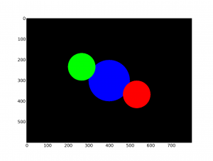 A simple scene with 3 spheres (Matplotlib)