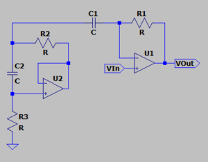 Gyrator-based bandpass schematic